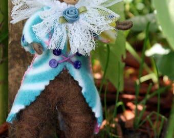 Felt Bear Doll, Bendy Doll Bear, Soft Sculpture Bear Doll, Collectible Bear Gift