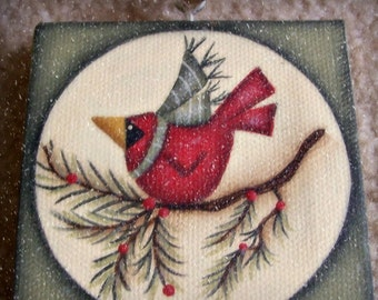 Mini Canvas Cardinal Winter Christmas Ornament Hand Painted Holiday Decor
