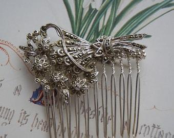 Vintage Marcasite Hair Comb- Floral Bouquet Design- Wedding, Bridal, Bridesmaid, Prom Hair Comb
