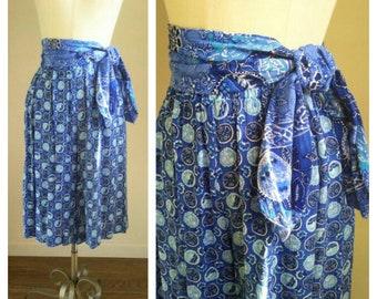 80's palazzo pants, medallion print culottes, matching scarf belt, rayon blue print skirt, 80s does 40s, high waisted, medium, 32 waist