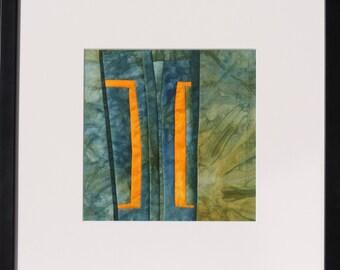"Quilt, patchwork, original, textiles mural Artquilt, gift, textile art, title: ""Gesprächiges blue"""