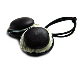 Black and Cream Faux Horn Ponytail Holder, Vintage Button Hair Accessories