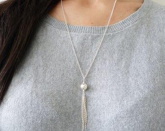 Art Deco Tassel Necklace, Silver Long Tassel Pendant, Fringe Long Tassel, Sterling Silver Tassel Necklace, Wife Gift, Anniversary Gift