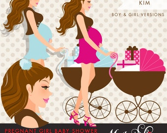 Brunette Pregnant Woman avatar Character Design with gift boxes and stroller. Chic Character Design for Stationary,Web, Blog or Social Media