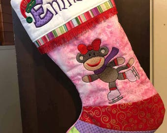 Girl Sock Monkey, Embroidered, Christmas, Stocking, Christmas Stocking, cute, personalized, child, pink, ice skates, stripes