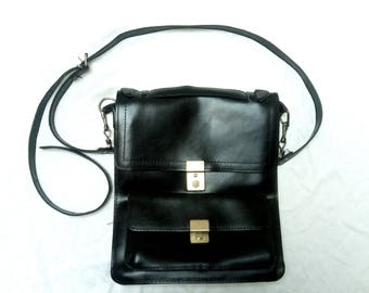 Vintage Black Leather 5 Pocket Messenger Bag Made in Greece, FREE USA shipping