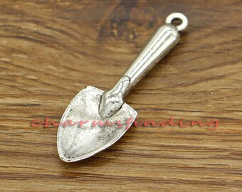 3pcs Spade Charms Garden Shovel 3D Large Size Antique Silver Tone 16x55mm cf0453