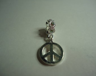 Love and Peace charm pendant silver white rhinestone