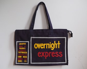 """1970s """"Overnight Express"""" Zippered Canvas Tote Bag"""
