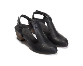 Black Heels, Womens Shoes, Black Shoes, Leather Shoes, Summer Shoes, Chunky Heels, Audrey // Free Shipping