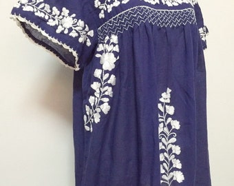Mexican Embroidered Blouse Cotton Top In Blue, Boho Blouse, Hippie Top. Peasant Blouse, Oaxacan Top