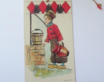 Antique Germany bridge tally card Dutch boy fetching water from well bookmark style scorecard ephemera