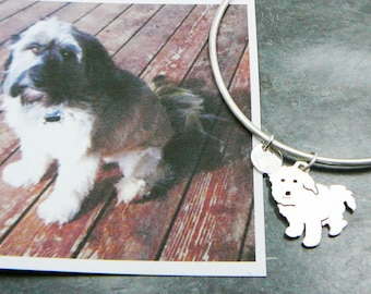 Custom Pet Portrait TaGette Bangle Bracelet .. Sterling Silver Dog silhouette Jewelry Memorialize Keepsake
