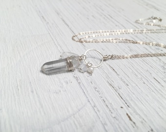 Quartz Spike Amulet Pendant - Sterling Silver Wire Wrapped Clear Quartz with Moonstone Rainbow Quartz and Freshwater Pearl Hammered Cluster