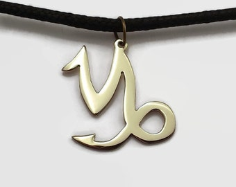 Capricorn Pendant Necklace - Zodiac & Astrology Jewelry in Brass or Copper on Black Cord Choker - Wear your star sign with pride