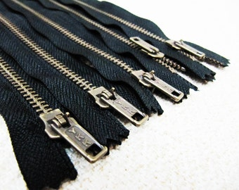 12inch - Black Metal Zipper - Brass Teeth - 5pcs