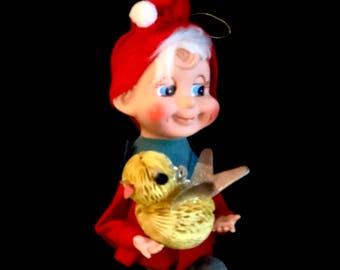 Vintage Pixie Elf, Santas Helper, Knee Hugger, Googly Eyes, Dimples, Red and Green Elf, Yellow Honeycomb Bird, Mid Century Elf, Japan, 1960s