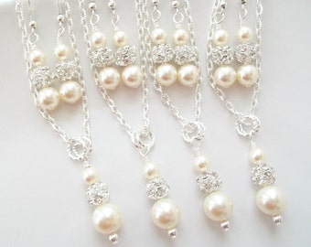 Bridesmaid Jewelry Set of 4,Ivory Bridesmaid Jewelry,Set of 4 Bridesmaids,Four Bridesmaids Jewelry Sets,Necklace and Earrings Sets