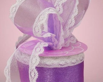 2 1/2 inch wide Lindy Lace Sheer Ribbon lavender 1 yard and 7 inch cut