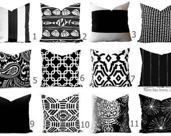 Outdoor Pillows Indoor Custom Cover size include 16x16, 18x18 - Shades of Black and White Modern Geometric Block Print Quatrefoil Tribal