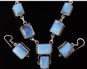 """MEMORIAL DAY SALE Fiery """"Tiffany's Stone"""" Opalite Necklace and Earring Set  925 Sterling Silver 18.5"""" Necklace 1.5"""" Earrings (incl. hooks)"""