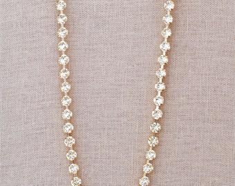Rose Gold Diamond Choker Necklace Swarovski Crystal Petite Rhinestone Diamond Tennis Necklace Bridal Jewelrt Bride Wedding Jewelry Dainty