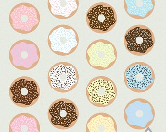 Donut Clipart, Cute Donuts, Frosted Donuts, Sweets, Bakery, Baked Goods, Chocolate, Strawberry, PNG Files, Small Commercial Use, Digital
