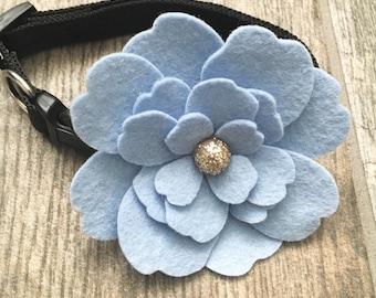 Blue Dog collar, Pet collars & leash, blue  flower with glitter, Wedding pet collars, Dog Weddings, Pet collars, Cat collar, show dogs