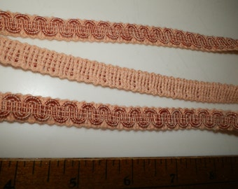 """1/2"""" Wide Conso Scroll Gimp Trim  Upholstery  Peach/Pink/Rose  By the Yard"""