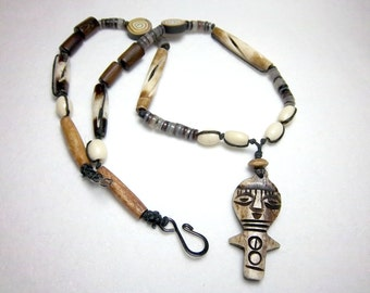 Tribal Necklace, Totem Necklace,  Horn and Bone Necklace, Men's Necklace,  Knotted Necklace, Lightweight Necklace,  OOAK Necklace