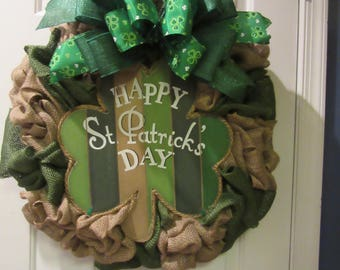 Happy St. Patrick's Day Burlap Wreath