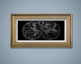 10x20 Silver Faux Foil on Black World Hemispheres Map, Map Wall Art, Printable Art, Digital Download, Black and Silver Map, Man Cave Art