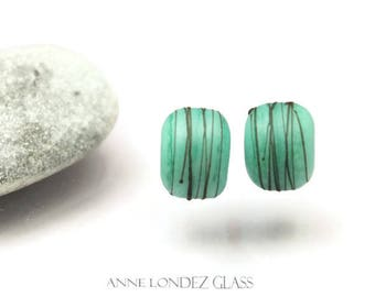 Jade green bead pair lampwork Made to ORDER matte lampwork beads green Glass beads etched round beads cocoon Anne Londez SRA OOAK