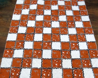 University of Texas Longhorns Rag Quilt Throw 50x60 Inches Licensed Fabric