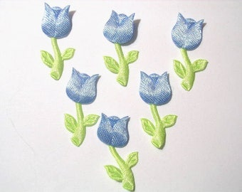BATCH 6 fabric APPLIQUES: Tulip blue height 30mm