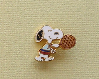 Vintage Snoopy Playing Tennis with Raquet Forward Hinged Pin Enamel Cloissone  Enamel Cloisonne 1142