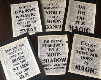 Magic and Moon Song Lyric Dictionary Art Quote Prints  Party Decorations  Set of 6