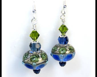 Green and Blue lampwork glass beads with Dark Indigo and Olivine Swarovski crystals, lampwork earrings, lampwork beads, beaded earrings