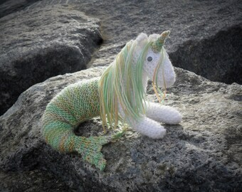 Beautiful little magical knitted 'Mer-icorn' made in any colours you like