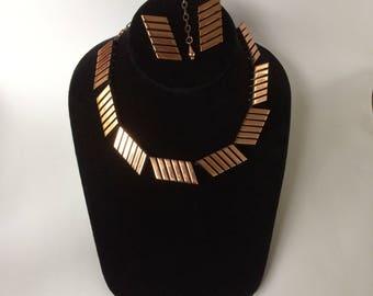 Vintage Unusual Mid Century Renoir Copper Geometric Necklace & Earrings