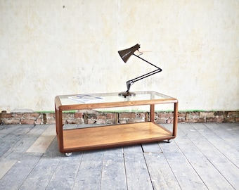 G Plan Fresco Vintage Large Cube Teak & Glass Coffee Table. Gplan Mid Century Furniture. G plan Living Room Lamp Table. Gplan T.V Stand