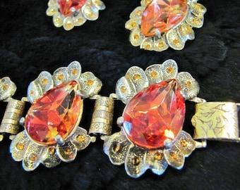 Judy Lee Bracelet and Earring Set Signed