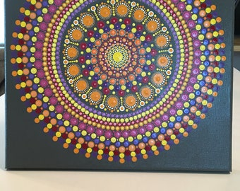 Hand painted Multicolored Mandala Painting