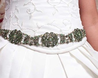 Emerald Sash - Bridal Belt - Bridal Sash - Emerald Belt - Wedding Sash - Wedding Belt - Prom Belt - Prom Sash - Crystal Sash - MICHELLE