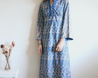 Vintage 70's Paisley Maxi Dress, Paisley Pattern, 70s Dress, Retro, Hippie, Boho Clothing, Blue Cotton