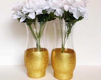 Set Of 2 Gold Dipped Vases,Wedding Centerpiece,Flower Vase,Gold Vases,Tall Vases,Wedding Vases,Gold Centerpieces,Bridal Shower Centerpiece