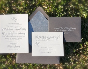 Simple and Elegant Letterpress Wedding Invitations, Silver Wedding Invitations, Letterpress Wedding Invites, White Ink Printing