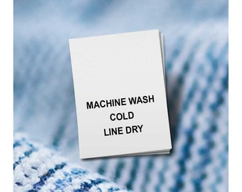 100 PRINTED CARE LABELS (Style 6-Machine Wash Cold...)