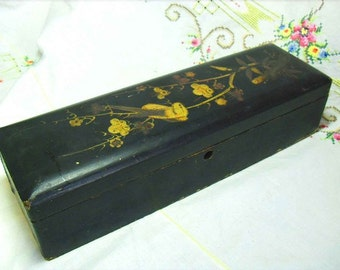 Antique Glove Box - handpainted with bird on bamboo flowers in gold w red, Victorian Era hinged dresser boudoir