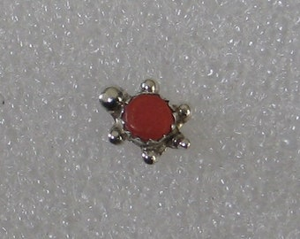11mm  Coral Turtle Vintage Sterling  SINGLE Post Earring